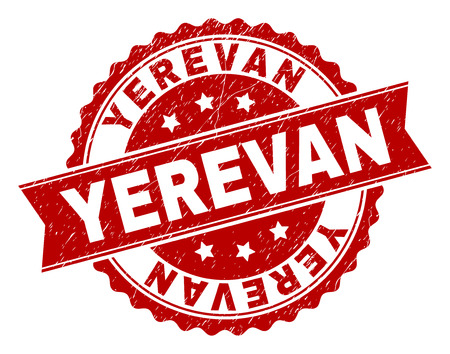 YEREVAN seal print with corroded style. Rubber seal imitation has round medallion form and contains ribbon. Red vector rubber print of YEREVAN caption with corroded texture. Stock Vector - 105255240