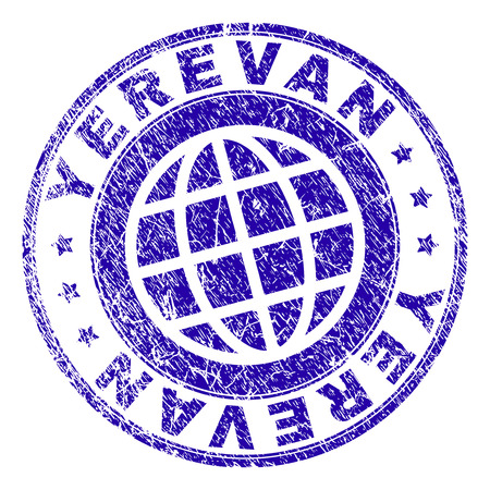 YEREVAN stamp imprint with grunge effect. Blue vector rubber seal imprint of YEREVAN title with grunge texture. Seal has words placed by circle and planet symbol.