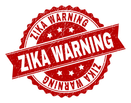 ZIKA WARNING seal print with corroded texture. Rubber seal imitation has round medallion shape and contains ribbon. Red vector rubber print of ZIKA WARNING title with corroded texture.  イラスト・ベクター素材