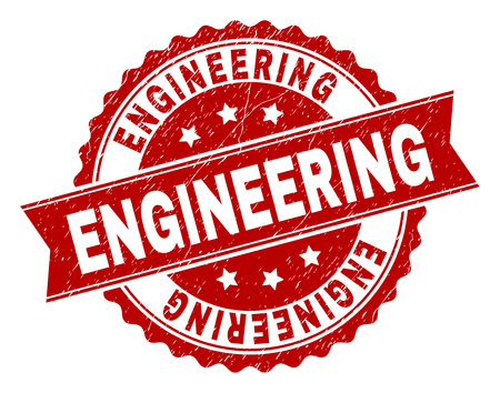 ENGINEERING seal print with distress texture. Rubber seal imitation has circle medal shape and contains ribbon. Red vector rubber print of ENGINEERING caption with dust texture.