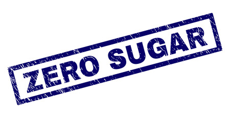Rectangle ZERO SUGAR seal print with distress texture. Rubber seal imitation has rectangle frame. Blue vector rubber print of ZERO SUGAR text with unclean texture. Ilustração