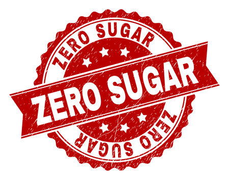 ZERO SUGAR seal print with corroded texture. Rubber seal imitation has round medal form and contains ribbon. Red vector rubber print of ZERO SUGAR caption with dirty texture.