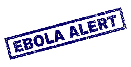 Rectangle EBOLA ALERT seal imprint with corroded texture. Rubber seal imitation has rectangle frame. Blue vector rubber print of EBOLA ALERT label with corroded texture. Иллюстрация