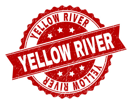 YELLOW RIVER seal print with distress texture. Rubber seal imitation has circle medallion form and contains ribbon. Red vector rubber print of YELLOW RIVER text with unclean texture. Illustration