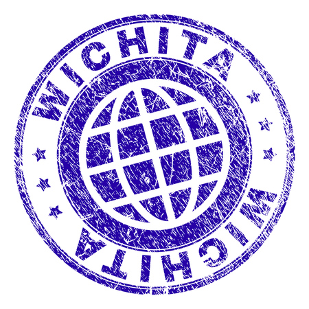 WICHITA stamp imprint with grunge texture. Blue vector rubber seal imprint of WICHITA label with corroded texture. Seal has words placed by circle and globe symbol.