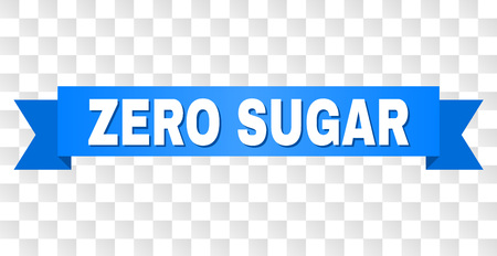 ZERO SUGAR text on a ribbon. Designed with white caption and blue stripe. Vector banner with ZERO SUGAR tag on a transparent background.