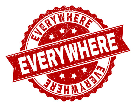 EVERYWHERE seal stamp with distress texture. Rubber seal imitation has circle medallion form and contains ribbon. Red vector rubber print of EVERYWHERE caption with scratched texture. Vettoriali