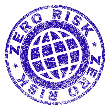 ZERO RISK stamp print with grunge texture. Blue vector rubber seal print of ZERO RISK label with scratched texture. Seal has words arranged by circle and globe symbol. Illustration