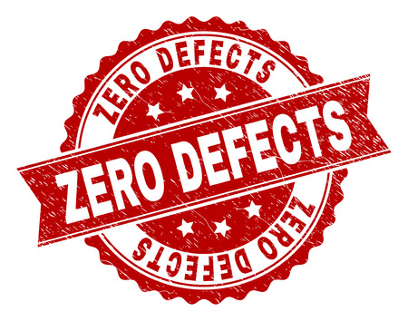 Impresión de sello CERO DEFECTOS con textura corroída. La imitación del sello de goma tiene forma de medallón redondo y contiene cinta. Impresión de goma de vector rojo de etiqueta CERO DEFECTOS con textura grunge.