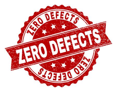 ZERO DIFETTI sigillo stampato con texture corrosa. L'imitazione della guarnizione in gomma ha una forma rotonda a medaglione e contiene un nastro. Stampa in gomma vettoriale rosso dell'etichetta ZERO DIFETTI con texture grunge.