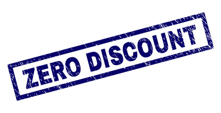 Rectangle ZERO DISCOUNT seal stamp with corroded surface. Rubber seal imitation has rectangle frame. Blue vector rubber print of ZERO DISCOUNT label with corroded texture.