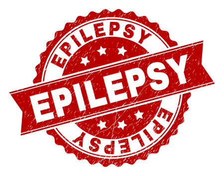 EPILEPSY seal print with corroded texture. Rubber seal imitation has circle medal shape and contains ribbon. Red vector rubber print of EPILEPSY label with corroded texture. Çizim