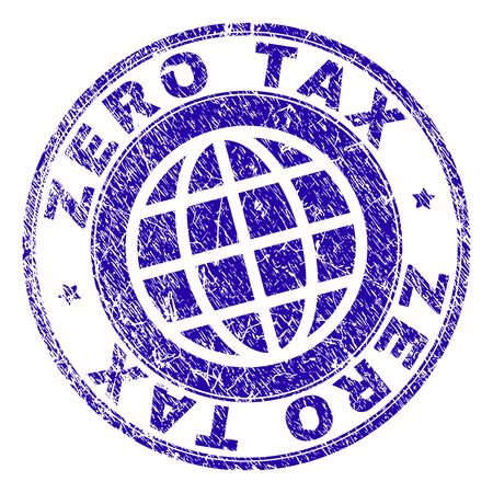 ZERO TAX stamp print with grunge effect. Blue vector rubber seal print of ZERO TAX caption with grunge texture. Seal has words placed by circle and planet symbol. Ilustração