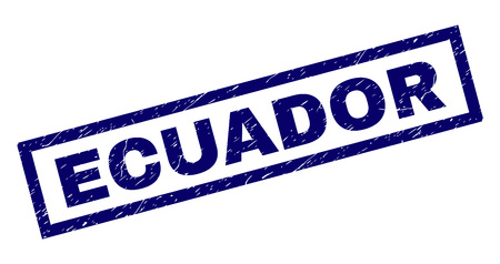 Rectangle ECUADOR seal watermark with corroded texture. Rubber seal imitation has rectangle frame. Blue vector rubber print of ECUADOR caption with dirty texture. 矢量图像
