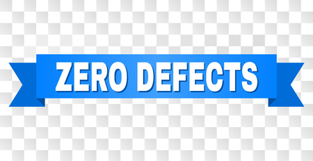 ZERO DEFECTS text on a ribbon. Designed with white title and blue stripe. Vector banner with ZERO DEFECTS tag on a transparent background.