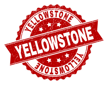 YELLOWSTONE seal print with distress texture. Rubber seal imitation has round medal form and contains ribbon. Red vector rubber print of YELLOWSTONE label with dirty texture.