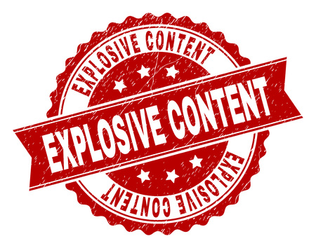 EXPLOSIVE CONTENT seal watermark with corroded texture. Rubber seal imitation has circle medallion form and contains ribbon. Red vector rubber print of EXPLOSIVE CONTENT caption with corroded texture.