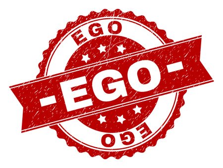 EGO seal stamp with corroded texture. Rubber seal imitation has round medal form and contains ribbon. Red vector rubber print of EGO tag with grunge texture.
