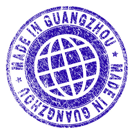 MADE IN GUANGZHOU stamp imprint with grunge texture. Blue vector rubber seal imprint of MADE IN GUANGZHOU tag with grunge texture. Seal has words arranged by circle and globe symbol. Illustration