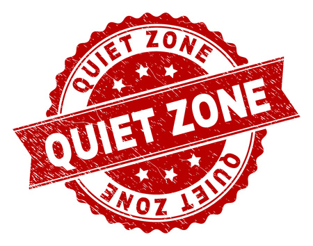 QUIET ZONE seal watermark with corroded texture. Rubber seal imitation has round medallion form and contains ribbon. Red vector rubber print of QUIET ZONE caption with corroded texture. 矢量图像