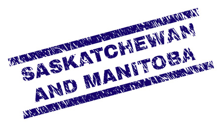 SASKATCHEWAN AND MANITOBA seal imprint with grunge style. Blue vector rubber print of SASKATCHEWAN AND MANITOBA tag with grunge texture. Text tag is placed between parallel lines.
