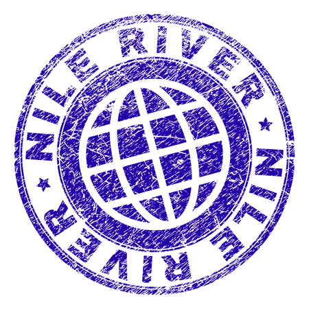 NILE RIVER stamp imprint with grunge style. Blue vector rubber seal imprint of NILE RIVER caption with grunge texture. Seal has words placed by circle and planet symbol.
