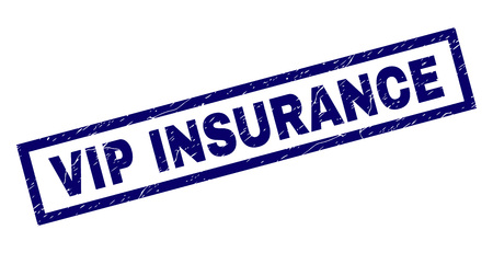 Rectangle VIP INSURANCE seal stamp with distress texture. Rubber seal imitation has rectangle frame. Blue vector rubber print of VIP INSURANCE title with corroded texture.