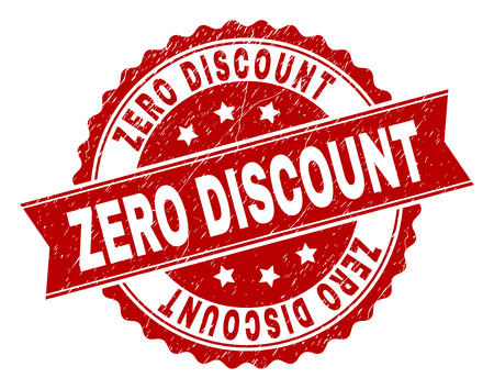 ZERO DISCOUNT seal print with corroded surface. Rubber seal imitation has circle medallion form and contains ribbon. Red vector rubber print of ZERO DISCOUNT caption with corroded texture.