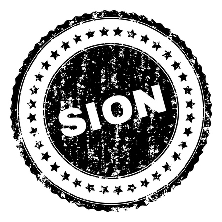 SION seal print with corroded texture. Black vector rubber print of SION text with retro texture. Rubber seal imitation has circle shape and contains stars.