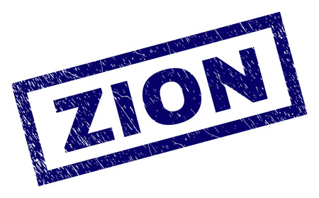 Rectangle ZION seal print with corroded texture. Rubber seal imitation has rectangle frame. Blue vector rubber print of ZION caption with retro texture.