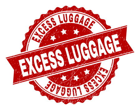 EXCESS LUGGAGE seal watermark with corroded texture. Rubber seal imitation has round medallion shape and contains ribbon. Red vector rubber print of EXCESS LUGGAGE label with corroded texture.