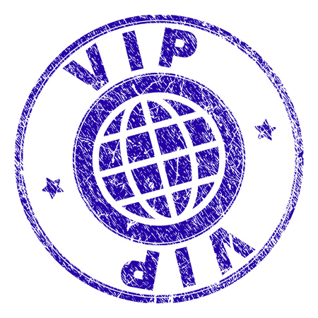 VIP stamp imprint with grunge texture. Blue vector rubber seal imprint of VIP label with grunge texture. Seal has words placed by circle and globe symbol.