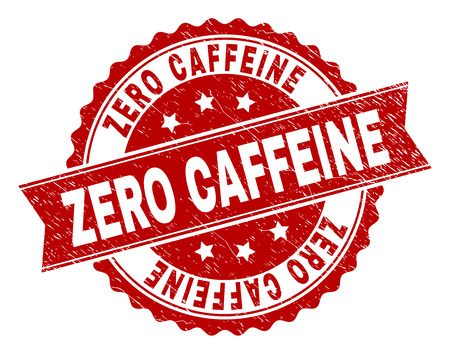ZERO CAFFEINE seal print with corroded texture. Rubber seal imitation has round medal shape and contains ribbon. Red vector rubber print of ZERO CAFFEINE label with corroded texture.