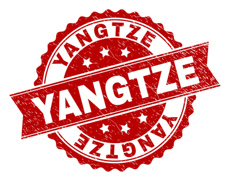 YANGTZE seal print with distress style. Rubber seal imitation has round medallion shape and contains ribbon. Red vector rubber print of YANGTZE label with scratched texture.