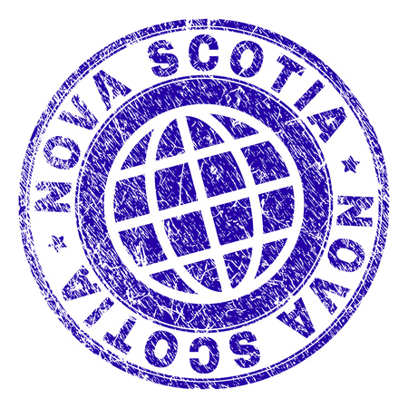 NOVA SCOTIA stamp imprint with grunge style. Blue vector rubber seal imprint of NOVA SCOTIA label with grunge texture. Seal has words placed by circle and globe symbol.
