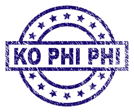 KO PHI seal imprint with grunge texture. Designed with rectangle, circles and stars. Blue vector rubber print of KO PHI label with unclean texture. Illustration
