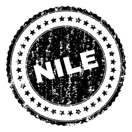 NILE seal print with distress texture. Black vector rubber print of NILE caption with retro texture. Rubber seal imitation has round shape and contains stars.