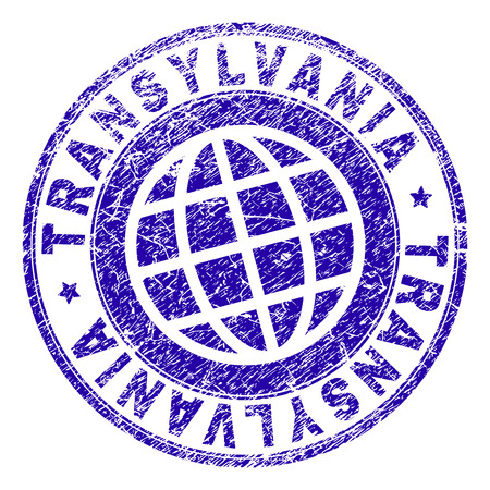 TRANSYLVANIA stamp print with grunge texture. Blue vector rubber seal print of TRANSYLVANIA tag with unclean texture. Seal has words placed by circle and planet symbol.