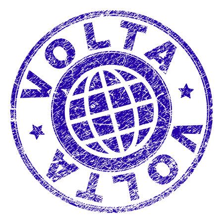 VOLTA stamp watermark with grunge texture. Blue vector rubber seal imprint of VOLTA caption with grunge texture. Seal has words placed by circle and globe symbol.
