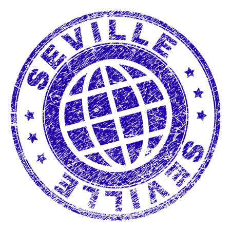 SEVILLE stamp imprint with grunge texture. Blue vector rubber seal imprint of SEVILLE text with grunge texture. Seal has words placed by circle and planet symbol.