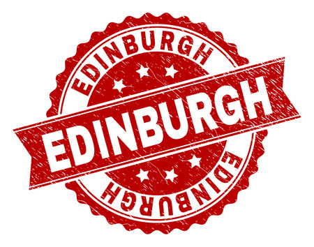EDINBURGH seal print with distress texture. Rubber seal imitation has round medallion form and contains ribbon. Red vector rubber print of EDINBURGH label with corroded texture.