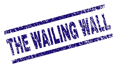 THE WAILING WALL seal print with grunge style. Blue vector rubber print of THE WAILING WALL label with grunge texture. Text caption is placed between parallel lines.