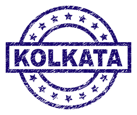 KOLKATA seal print with grunge texture. Designed with rectangle, circles and stars. Blue vector rubber print of KOLKATA text with corroded texture.