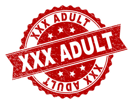 XXX ADULT seal print with corroded texture. Rubber seal imitation has circle medal shape and contains ribbon. Red vector rubber print of XXX ADULT title with scratched texture.