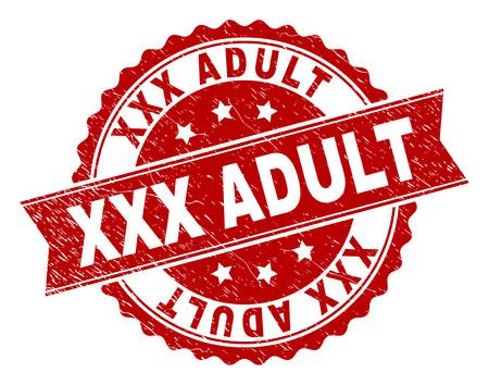 XXX impression de sceau ADULTE avec texture corrodée. L'imitation du joint en caoutchouc a la forme d'une médaille circulaire et contient un ruban. Impression en caoutchouc de vecteur rouge du titre XXX ADULTE avec texture rayée. Vecteurs