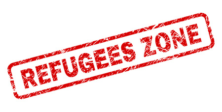 REFUGEES ZONE stamp seal imprint with scratced style. Red vector rubber print of REFUGEES ZONE title with unclean texture. Text title is placed inside rounded rectangle frame.