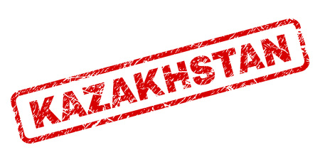 KAZAKHSTAN stamp seal print with grunge style. Red vector rubber print of KAZAKHSTAN tag with grunge texture. Text tag is placed inside rounded rectangle frame. Çizim