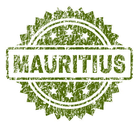 MAURITIUS stamp seal watermark with rubber print style. Green vector rubber print of MAURITIUS caption with dirty texture.