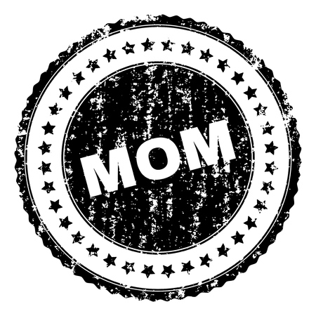 MOM seal print with distress texture. Black vector rubber print of MOM text with corroded texture. Rubber seal imitation has circle shape and contains stars.