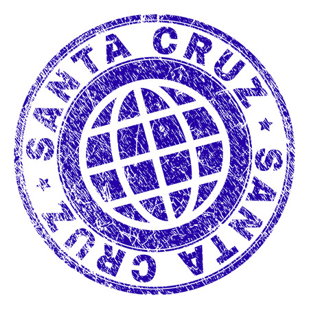 SANTA CRUZ stamp imprint with distress texture. Blue vector rubber seal imprint of SANTA CRUZ tag with dust texture. Seal has words placed by circle and globe symbol.
